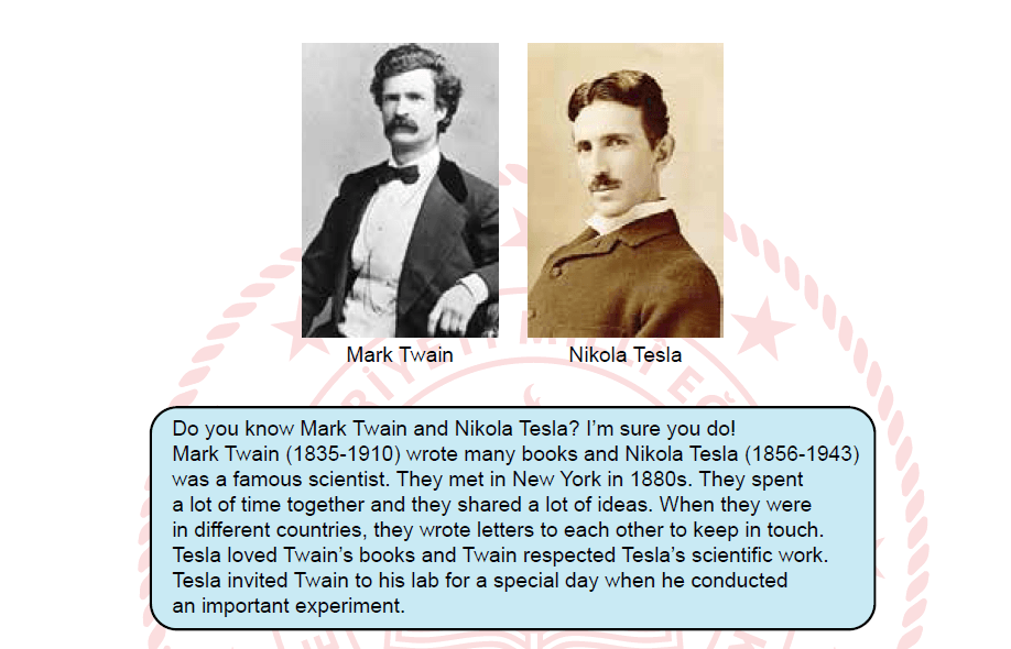 Image for We can understand from the text that Mark Twain and Nikola Tesla - - - -.
